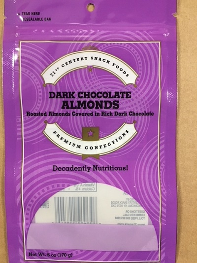 21st Century Snack Foods is Voluntarily Recalling Dark Chocolate Almonds Due to Possible Undeclared Milk Allergen